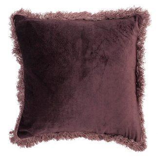 Shiny-velvet-putetrekk maroon med frynser