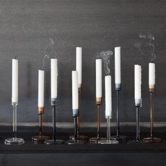 Lysestaker glass klar sett med 3 Hübsch