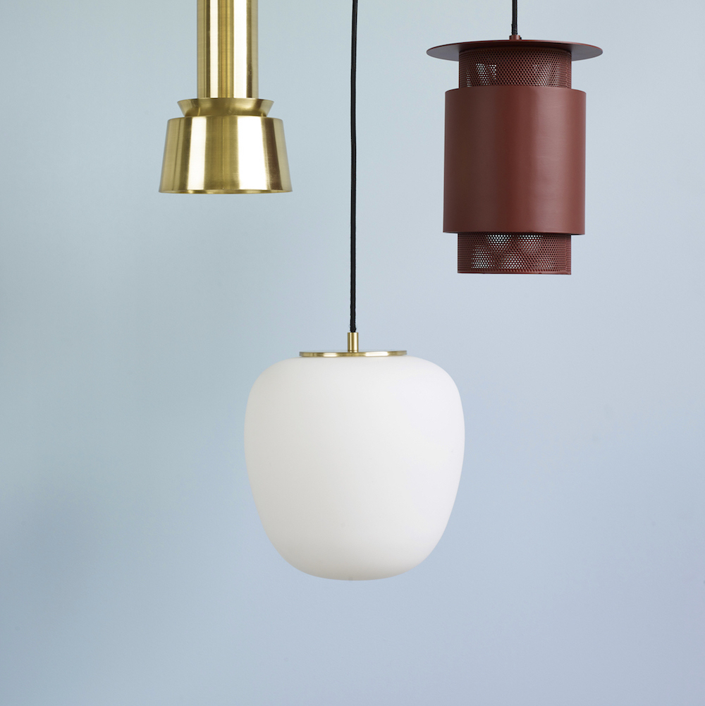 Lampe pendel oval, hvit Ø40 cm Kaktus Interiør AS