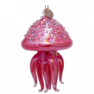 Julekule rosa jellyfish med permer Vondels