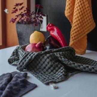 Kjøkkenhåndkle vaffeltencel oliven UND
