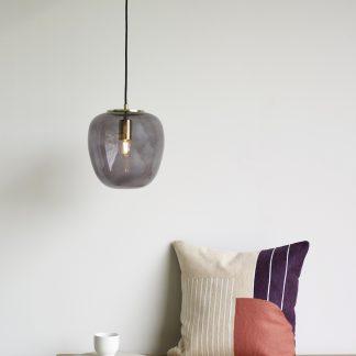 Lampe pendel smoke/messing Hübsch Interior