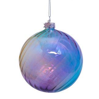 Vondels julekule 10 cm glass blå lilla