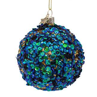 Vondels julekule 8 cm blå paljetter