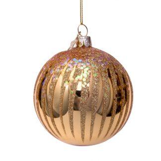Julekule gull med gull fyrverkeri Vondels