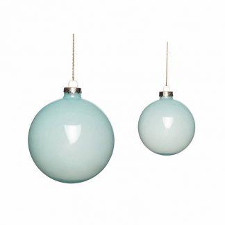 Julekule glass s/2 blå Hubsch Interior