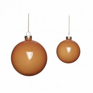 Julekule glass s/2 amber Hubsch Interior