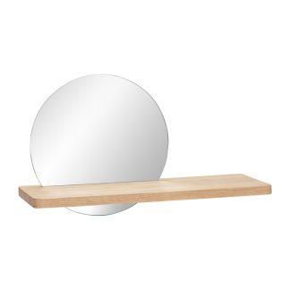 Hylle med speil eik Hübsch Interior