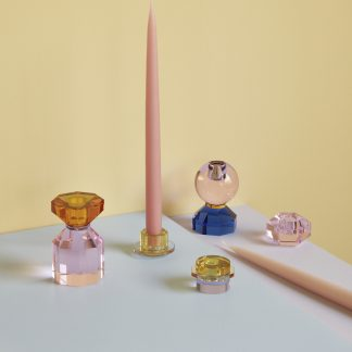 Lysestake glass Hübsch interiør amber pink